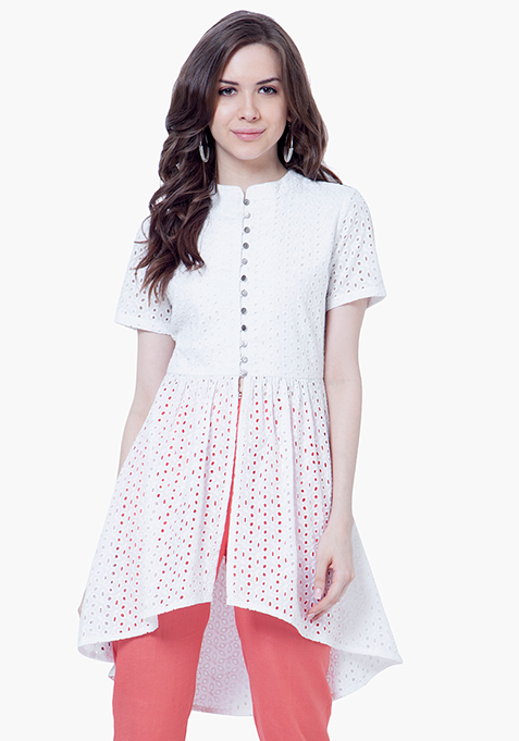High-Low Hem Eyelet Tunic - White