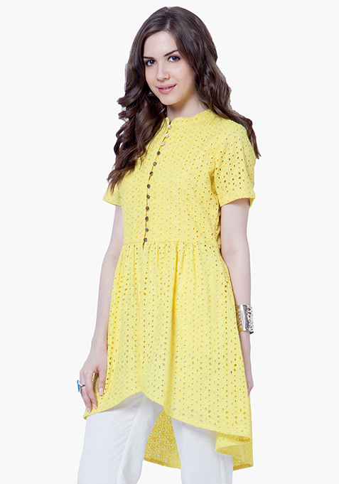 High-Low Hem Eyelet Tunic - Yellow