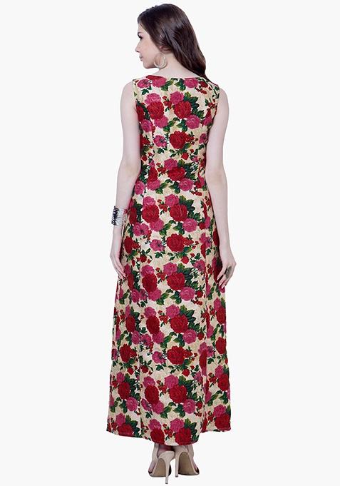 Red Bloom Silk Maxi Tunic