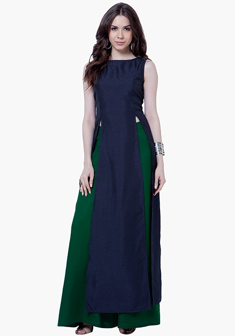Navy Silk Maxi Tunic