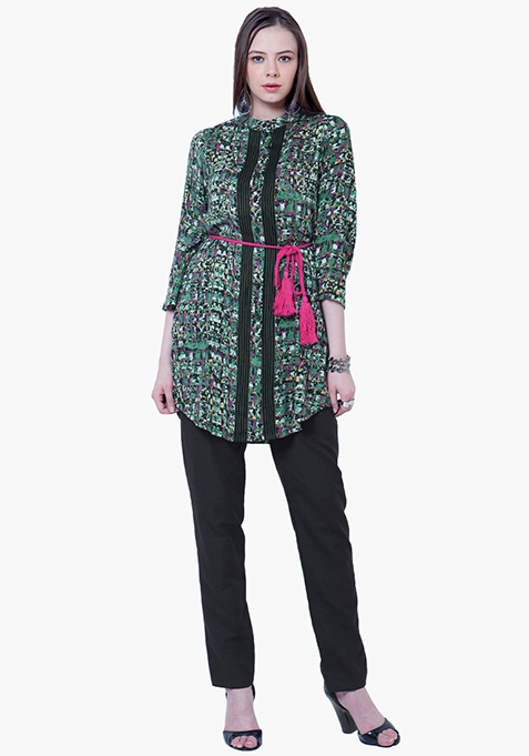 Pintuck Shirt Tunic - Multi