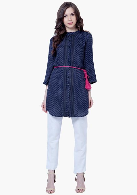 Pintuck Shirt Tunic - Blue