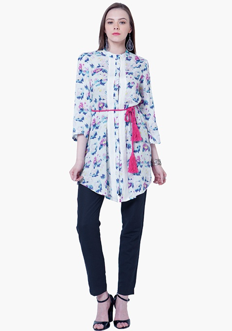 Pintuck Shirt Tunic - Floral