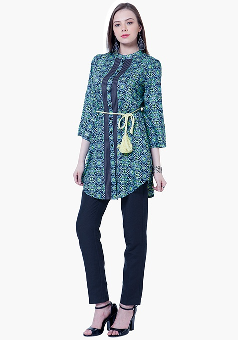 Pintuck Shirt Tunic - Aztec