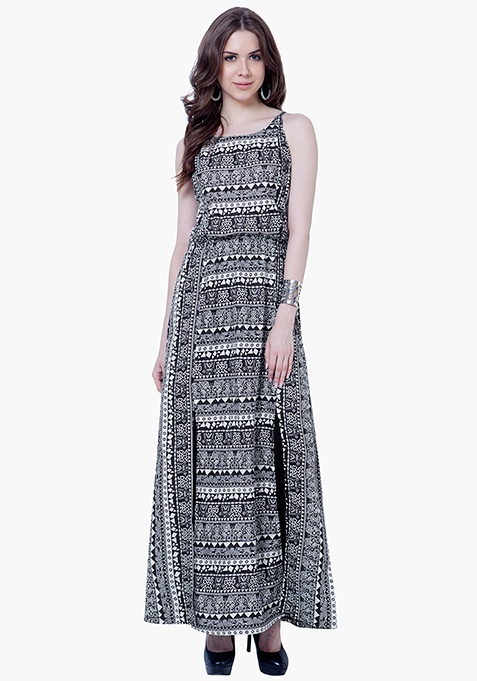 Maxi Slip Tunic Dress - Aztec