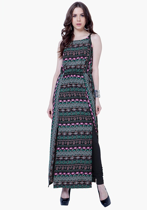 Maxi Slip Tunic Dress - Tribal