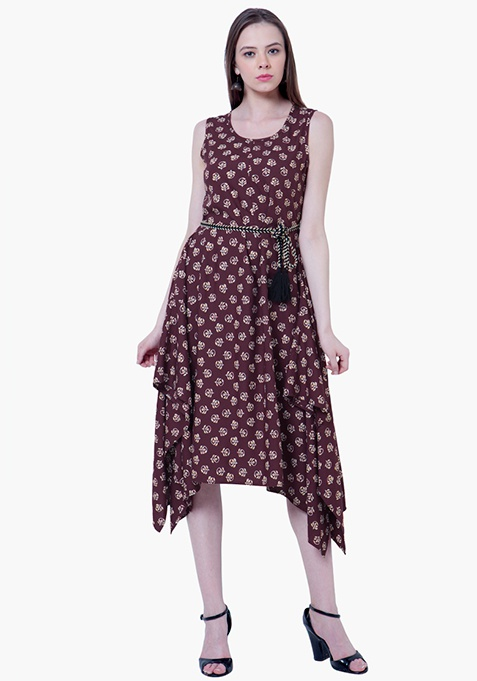 Handkerchief Hem Tunic Dress - Oxblood