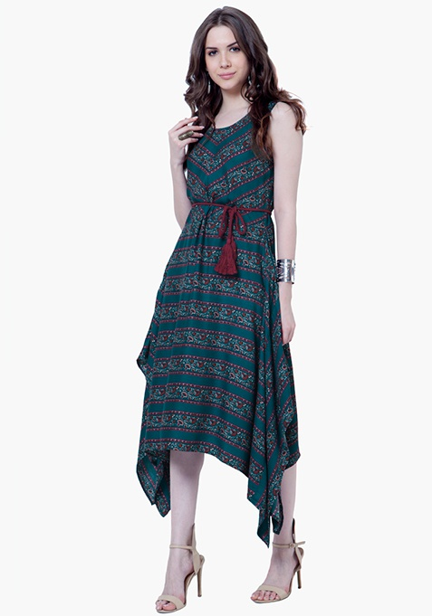 Handkerchief Hem Tunic Dress - Teal