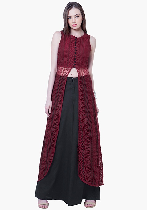 Lace Maxi Tunic - Oxblood