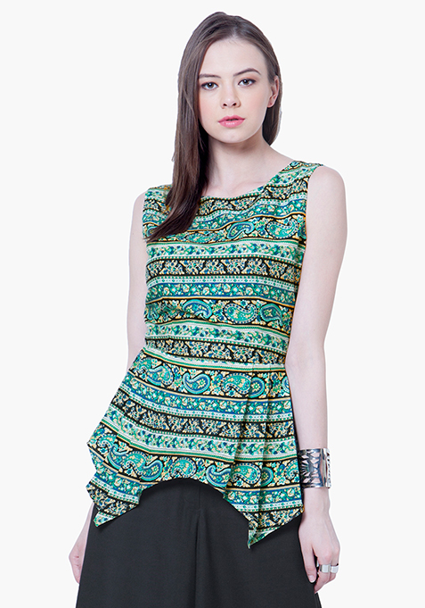Peplum Flair Top - Paisley