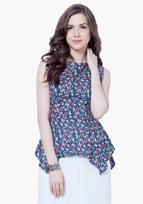 Peplum Flair Top - Floral