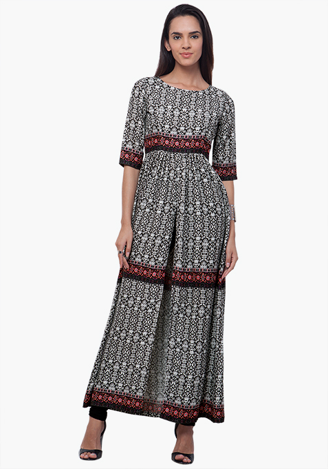 Gathered Maxi Tunic - Abstract