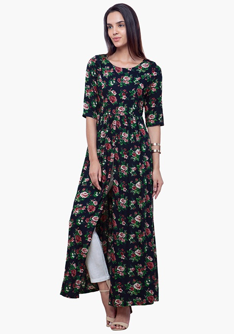 Gathered Maxi Tunic - Floral
