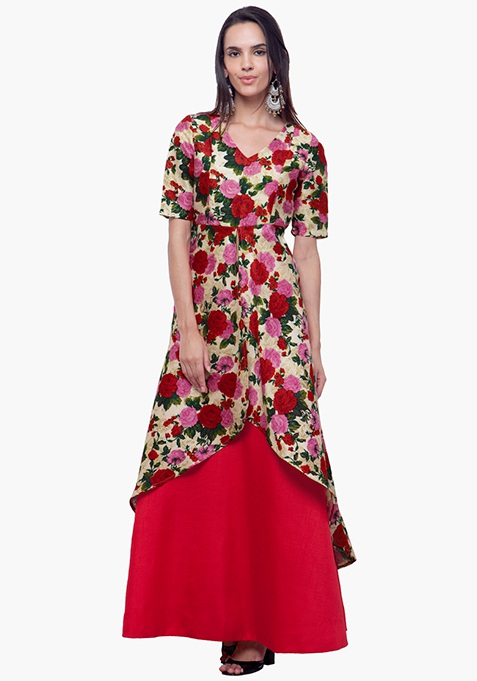 Silk High-Low Tunic - Floral