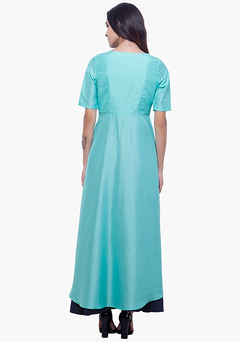 Silk High-Low Tunic - Aqua