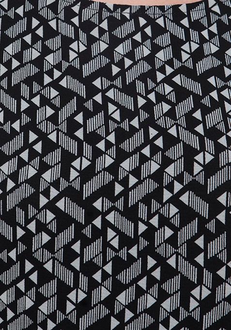 High-Low Hem Maxi Tunic - Geometric