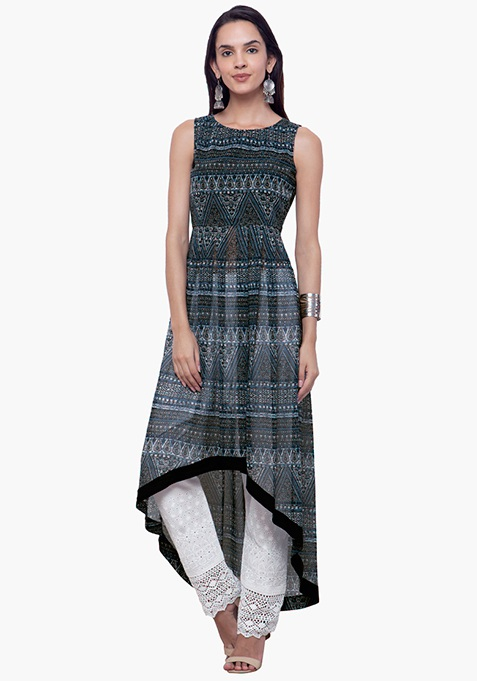 High-Low Hem Maxi Tunic - Aztec