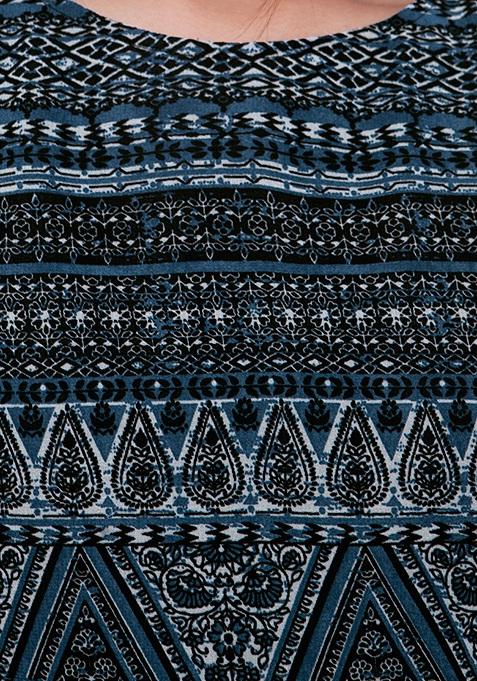 High-Low Hem Maxi Tunic - Aztec