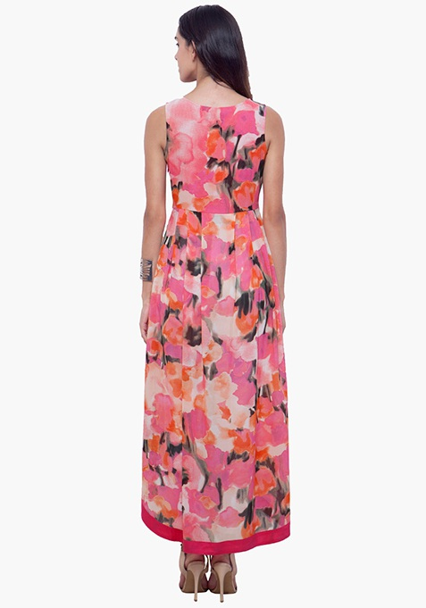 High-Low Hem Maxi Tunic - Floral