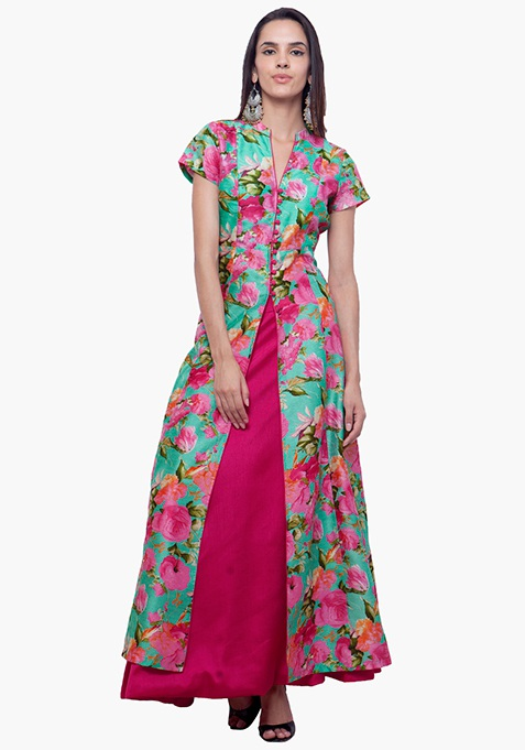 Silk Jacket Tunic - Rose Bliss