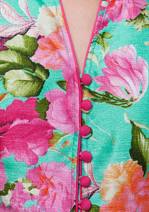 Silk Jacket Tunic - Rose Bliss