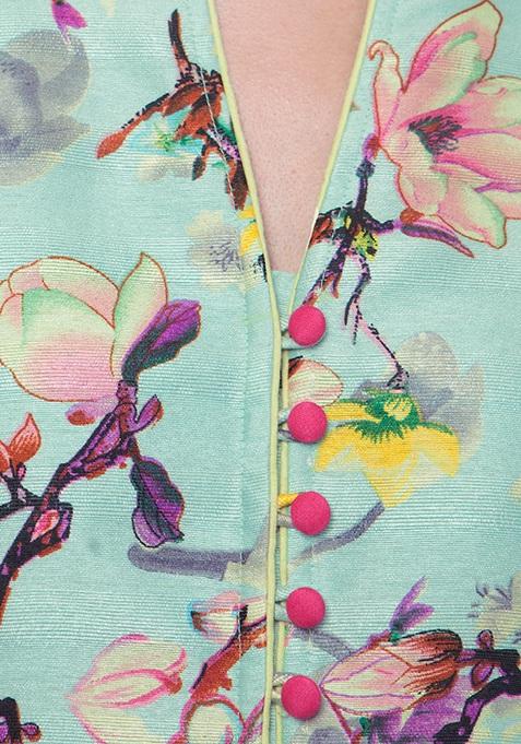 Silk Jacket Tunic - Mint Floral