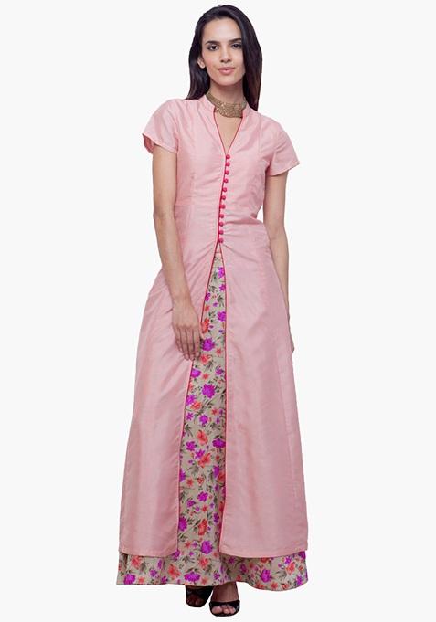 Silk Jacket Tunic - Peach