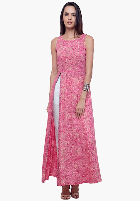 Slit Sass Maxi Tunic - Pink