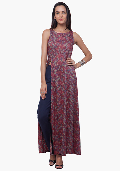 Slit Sass Maxi Tunic - Old Rose