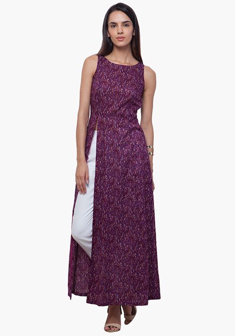 Slit Sass Maxi Tunic - Purple