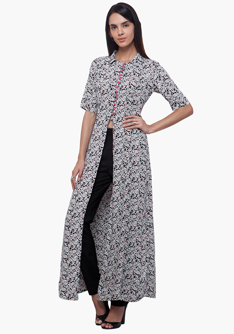 True Elegance Maxi Tunic - Monochrome