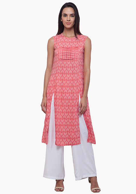 Coral Cray Pleated Tunic