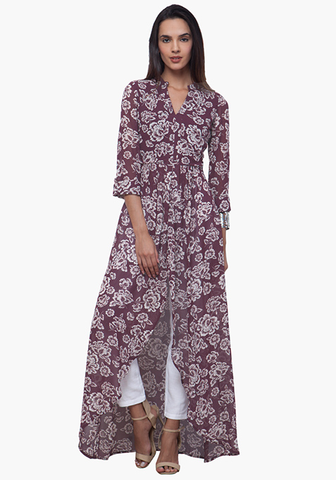Sheer Maxi Tunic - Oxblood Floral