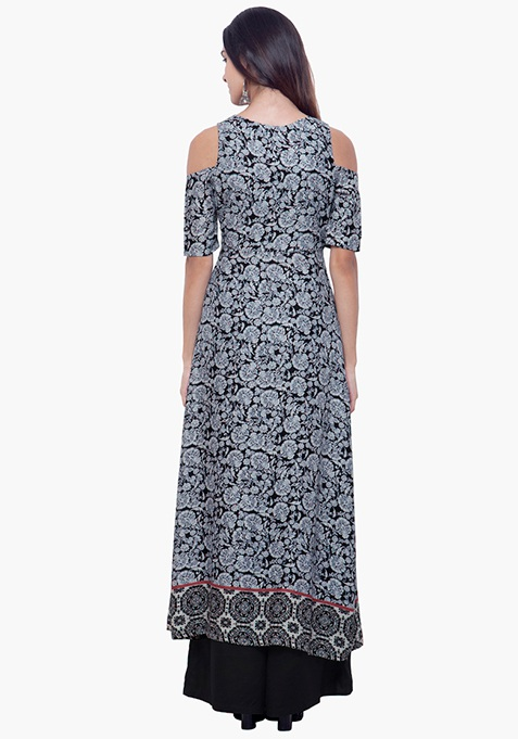 Cold Shoulder Maxi Tunic - Floral