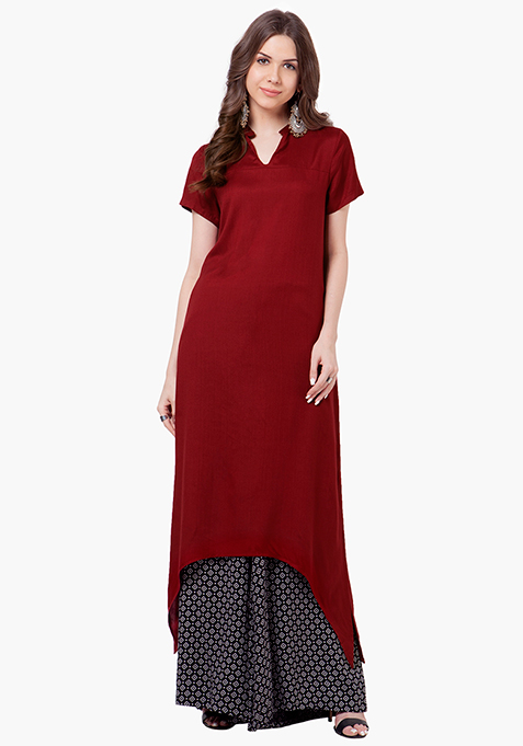 Lace Back Tunic Top - Oxblood