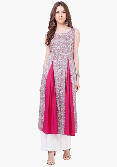 Flared Insert Maxi Tunic - Pink