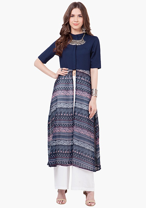 High-Neck Maxi Tunic - Paisley
