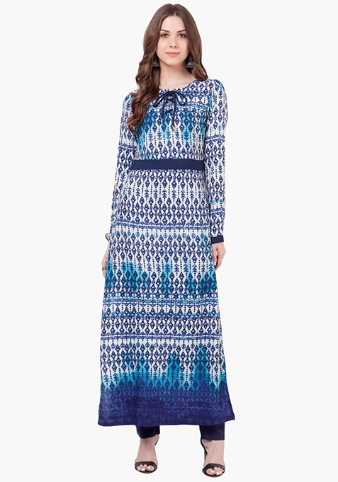 Tie-Up Maxi Tunic - Abstract
