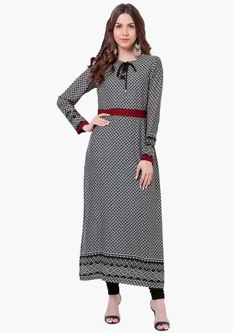 Tie-Up Maxi Tunic - Ditsy