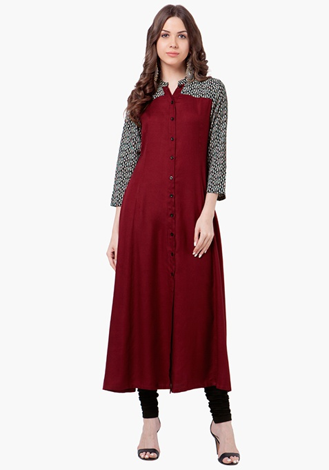 Flared Button-Down Tunic - Oxblood