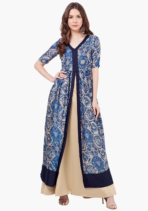 Dreamy Abstract Maxi Tunic - Blue