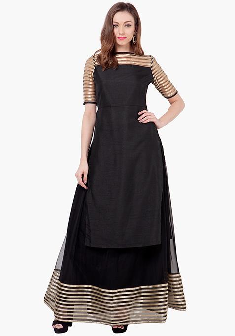 Stripe Mesh Tunic - Black