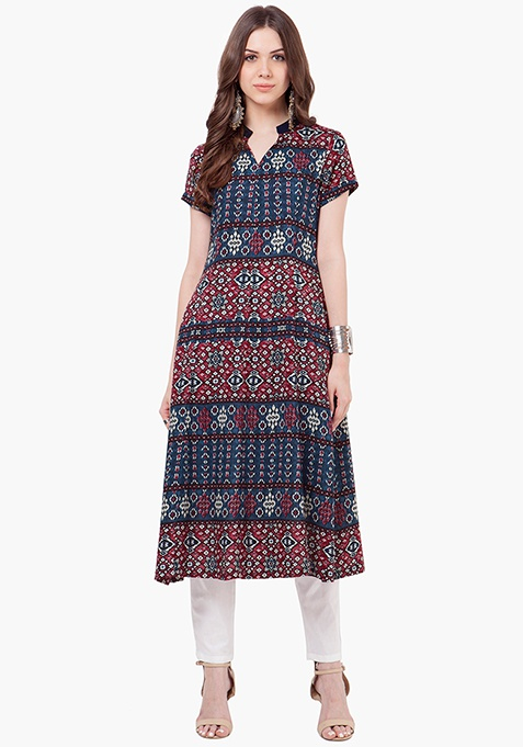 Fit And Flare Tunic Top - Ikkat