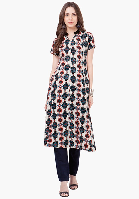 Fit And Flare Tunic Top - Abstract