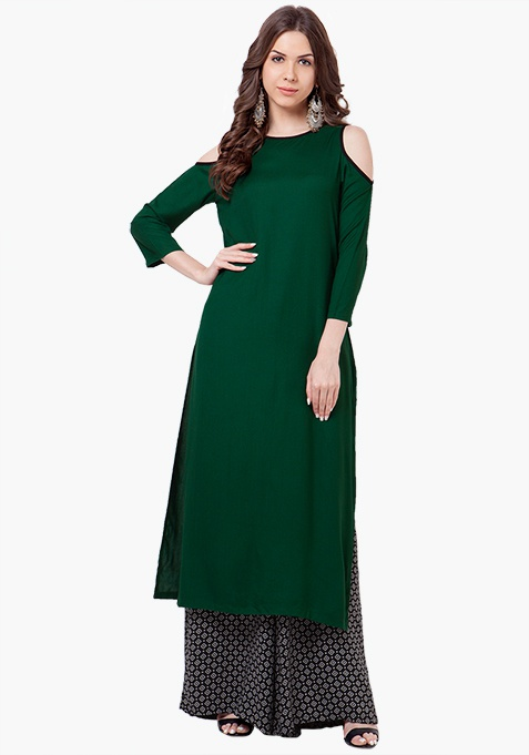 Cold-Shoulder Tunic - Green