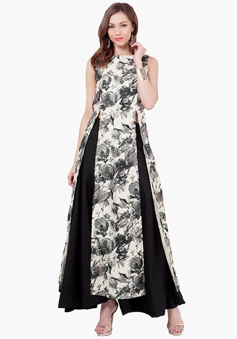 Floral Silk Slit Maxi Tunic
