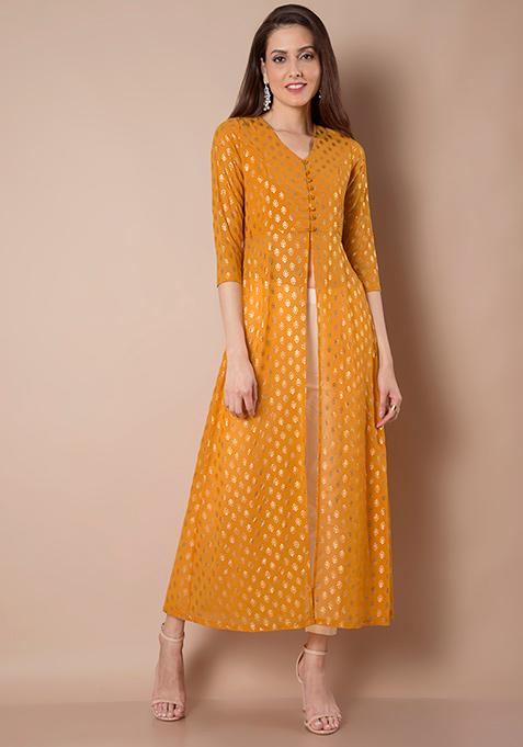 Foil Print Maxi Tunic - Mustard
