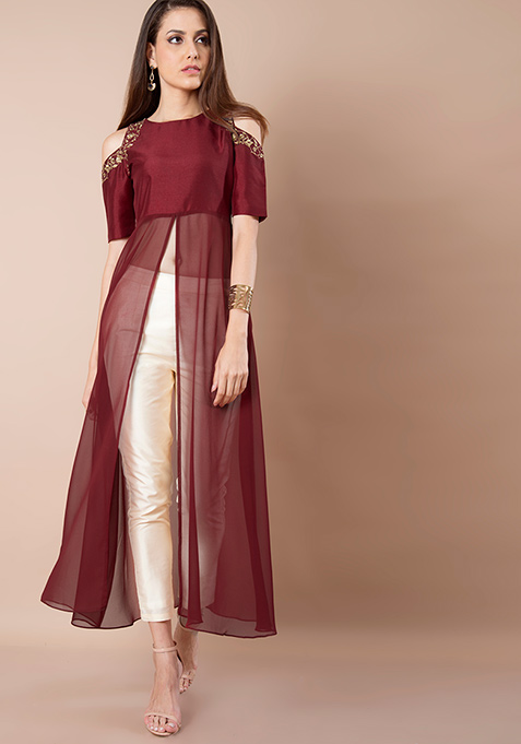 Oxblood Embroidered Cold Shoulder Tunic