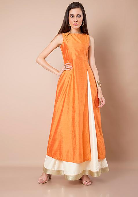 Silk Slit Sass Tunic - Orange