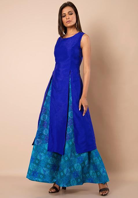 Double Slit Silk Tunic - Blue
